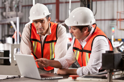 two workers talking