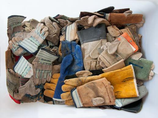 protective gloves in white box.